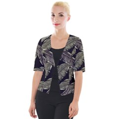 Jungle Leaves Tropical Pattern Cropped Button Cardigan by Nexatart