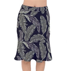 Jungle Leaves Tropical Pattern Mermaid Skirt by Nexatart