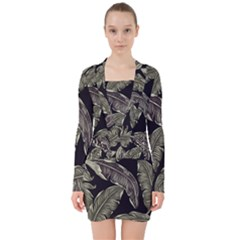 Jungle Leaves Tropical Pattern V Neck Bodycon Long Sleeve Dress by Nexatart