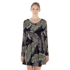 Jungle Leaves Tropical Pattern Long Sleeve Velvet V Neck Dress