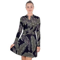Jungle Leaves Tropical Pattern Long Sleeve Panel Dress