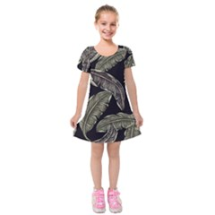 Jungle Leaves Tropical Pattern Kids  Short Sleeve Velvet Dress