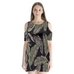 Jungle Leaves Tropical Pattern Shoulder Cutout Velvet One Piece by Nexatart