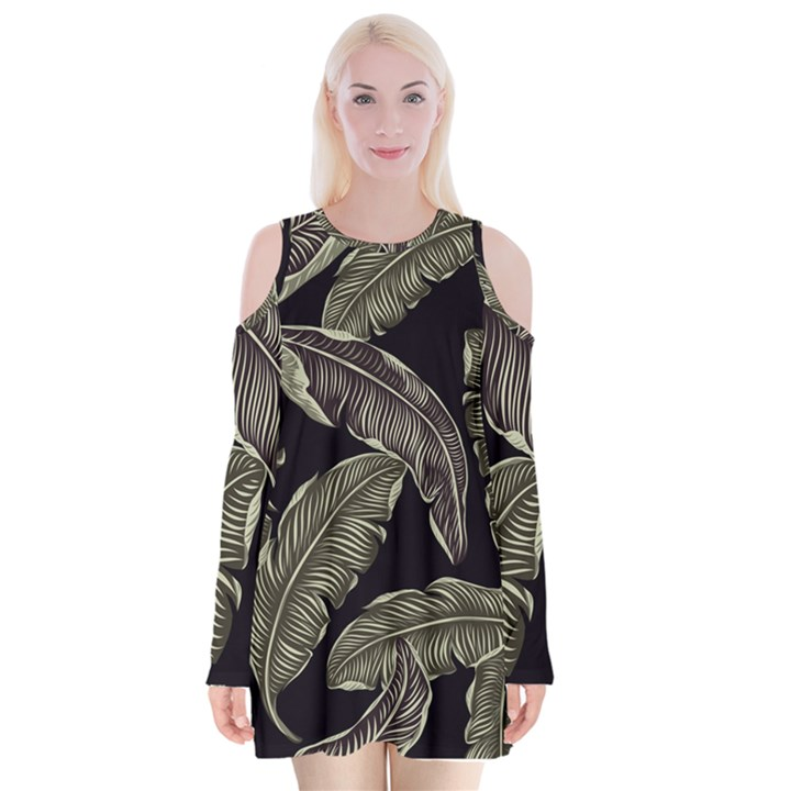 Jungle Leaves Tropical Pattern Velvet Long Sleeve Shoulder Cutout Dress