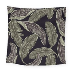 Jungle Leaves Tropical Pattern Square Tapestry (large)