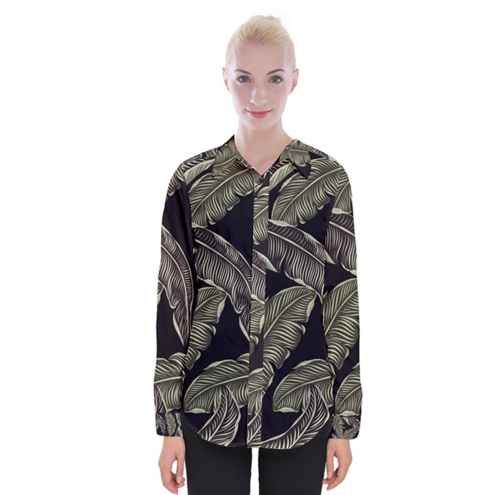 Jungle Leaves Tropical Pattern Womens Long Sleeve Shirt