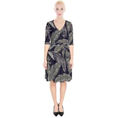Jungle Leaves Tropical Pattern Wrap Up Cocktail Dress