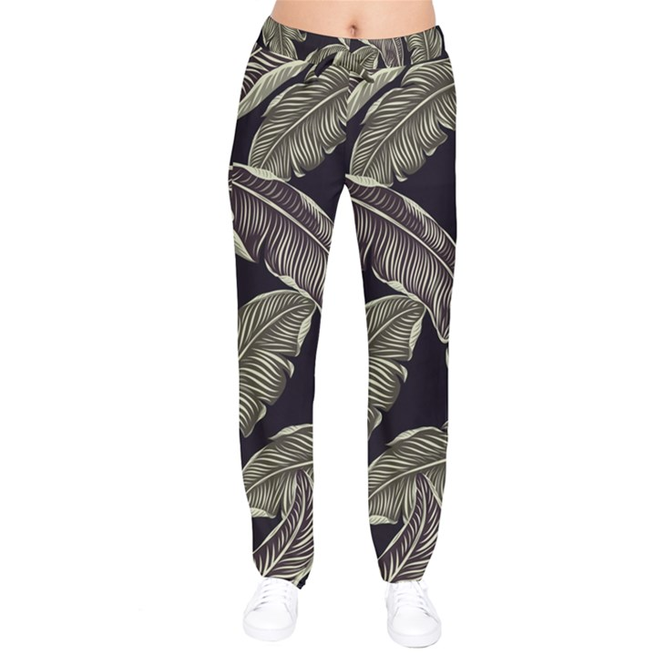 Jungle Leaves Tropical Pattern Velvet Drawstring Pants
