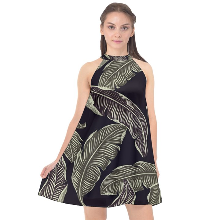 Jungle Leaves Tropical Pattern Halter Neckline Chiffon Dress
