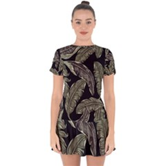 Jungle Leaves Tropical Pattern Drop Hem Mini Chiffon Dress