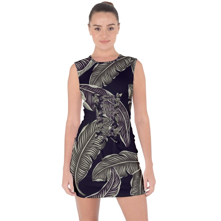Jungle Leaves Tropical Pattern Lace Up Front Bodycon Dress
