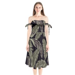 Jungle Leaves Tropical Pattern Shoulder Tie Bardot Midi Dress by Nexatart