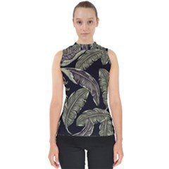 Jungle Leaves Tropical Pattern Mock Neck Shell Top by Nexatart