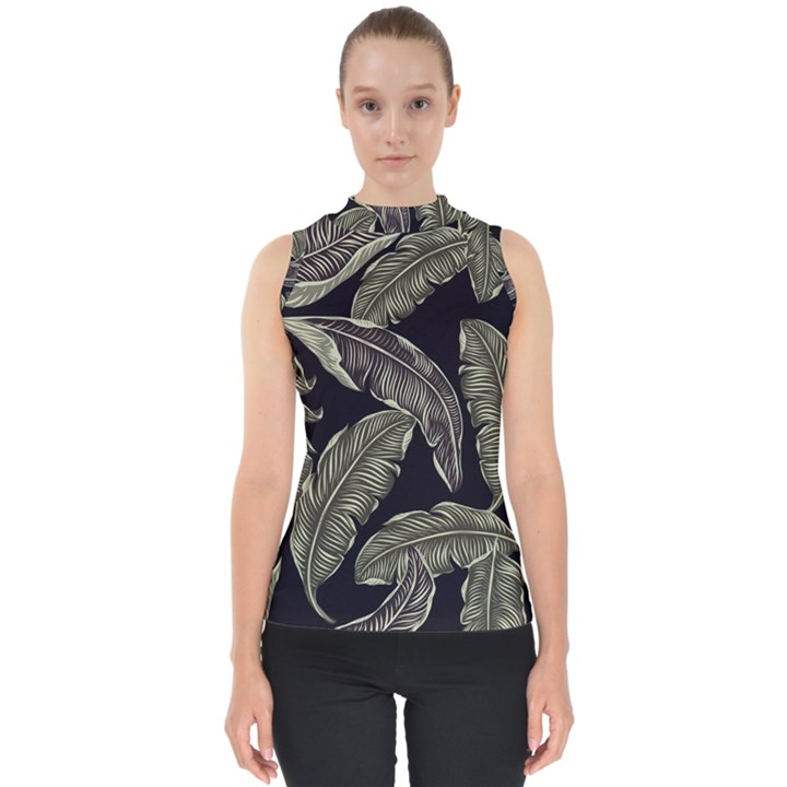 Jungle Leaves Tropical Pattern Mock Neck Shell Top