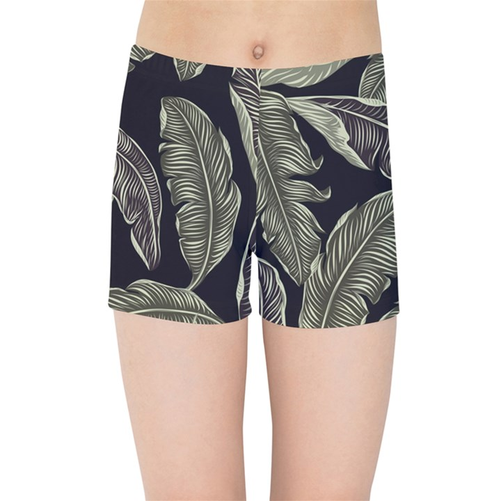 Jungle Leaves Tropical Pattern Kids Sports Shorts