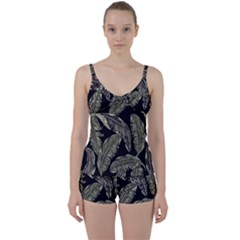 Jungle Leaves Tropical Pattern Tie Front Two Piece Tankini by Nexatart