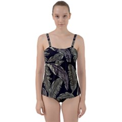 Jungle Leaves Tropical Pattern Twist Front Tankini Set