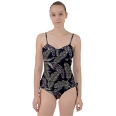 Jungle Leaves Tropical Pattern Sweetheart Tankini Set