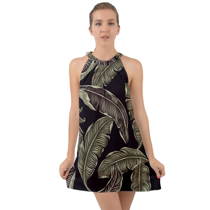 Jungle Leaves Tropical Pattern Halter Tie Back Chiffon Dress