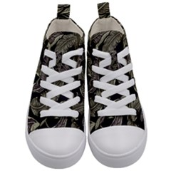 Jungle Leaves Tropical Pattern Kid s Mid Top Canvas Sneakers