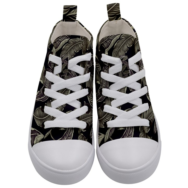 Jungle Leaves Tropical Pattern Kid s Mid-Top Canvas Sneakers