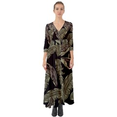 Jungle Leaves Tropical Pattern Button Up Boho Maxi Dress by Nexatart