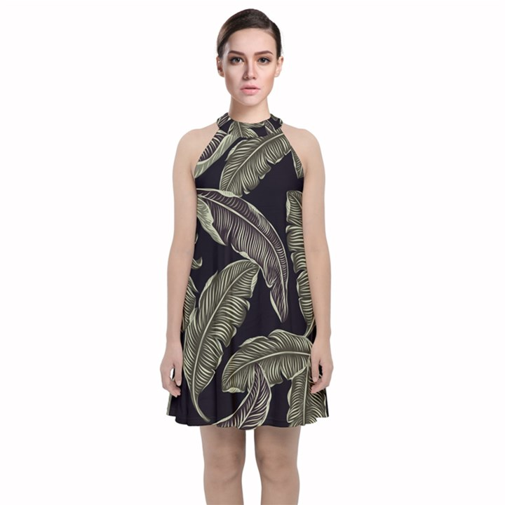 Jungle Leaves Tropical Pattern Velvet Halter Neckline Dress
