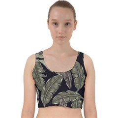 Jungle Leaves Tropical Pattern Velvet Racer Back Crop Top