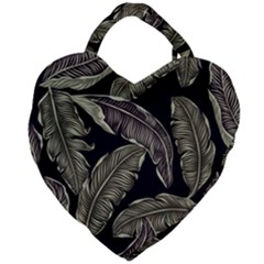 Jungle Leaves Tropical Pattern Giant Heart Shaped Tote by Nexatart