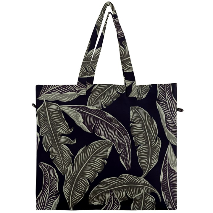 Jungle Leaves Tropical Pattern Canvas Travel Bag