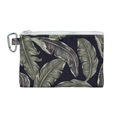Jungle Leaves Tropical Pattern Canvas Cosmetic Bag (medium)