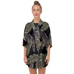 Jungle Leaves Tropical Pattern Half Sleeve Chiffon Kimono