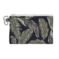 Jungle Leaves Tropical Pattern Canvas Cosmetic Bag (large) by Nexatart