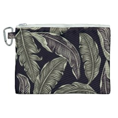 Jungle Leaves Tropical Pattern Canvas Cosmetic Bag (xl)