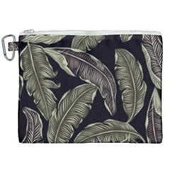 Jungle Leaves Tropical Pattern Canvas Cosmetic Bag (xxl) by Nexatart
