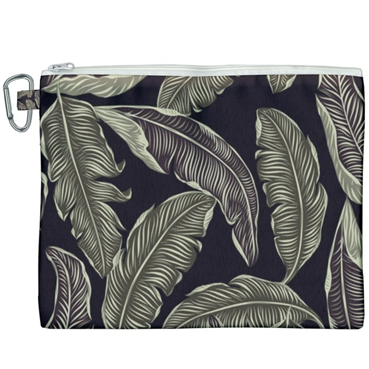 Jungle Leaves Tropical Pattern Canvas Cosmetic Bag (XXXL)