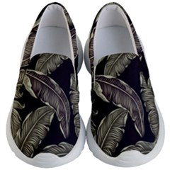 Jungle Leaves Tropical Pattern Kid s Lightweight Slip Ons by Nexatart