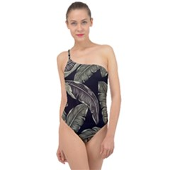 Jungle Leaves Tropical Pattern Classic One Shoulder Swimsuit by Nexatart