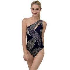 Jungle Leaves Tropical Pattern To One Side Swimsuit by Nexatart