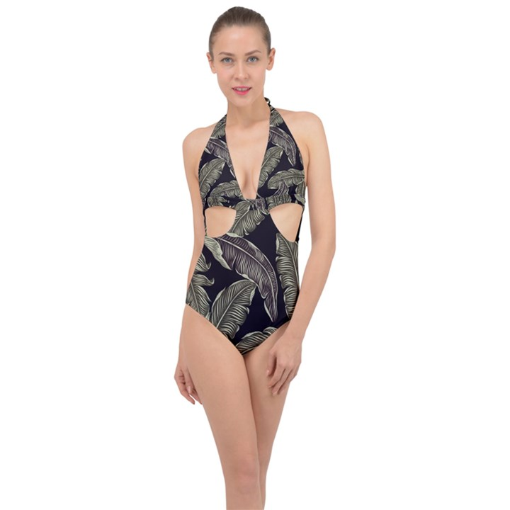 Jungle Leaves Tropical Pattern Halter Front Plunge Swimsuit