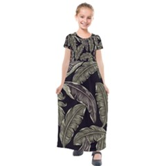 Jungle Leaves Tropical Pattern Kids  Short Sleeve Maxi Dress