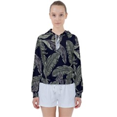 Jungle Leaves Tropical Pattern Women s Tie Up Sweat by Nexatart
