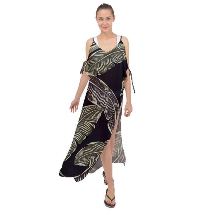 Jungle Leaves Tropical Pattern Maxi Chiffon Cover Up Dress