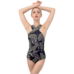 Jungle Leaves Tropical Pattern Cross Front Low Back Swimsuit
