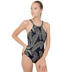 Jungle Leaves Tropical Pattern High Neck One Piece Swimsuit by Nexatart