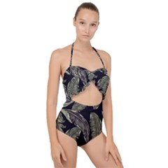 Jungle Leaves Tropical Pattern Scallop Top Cut Out Swimsuit by Nexatart