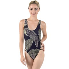 Jungle Leaves Tropical Pattern High Leg Strappy Swimsuit