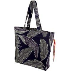 Jungle Leaves Tropical Pattern Drawstring Tote Bag by Nexatart