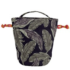 Jungle Leaves Tropical Pattern Drawstring Bucket Bag by Nexatart