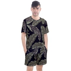 Jungle Leaves Tropical Pattern Men s Mesh Tee And Shorts Set by Nexatart